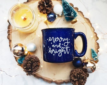 Merry and Bright / Winter / Deep Blue Campfire Mug