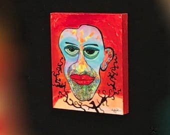 """Wall, outsider, art, """"Station STATIC"""", Intense, face, colorful, red & blue, painting, original, Larry Cutler, Sale, from Art show, folk art"""