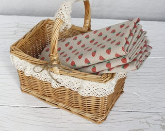 Kitchen towel Rustic home decor Strawberry towel Cotton dishcloth  Fruit kitchen towel  Eco-Friendly Gift Small towels Country cottage