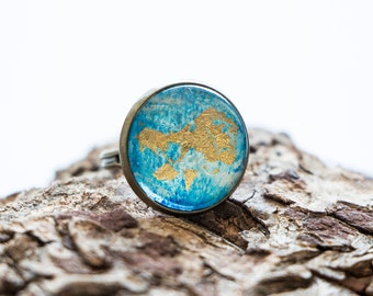 Abstract Blue & Gold Leaf Glass Cabochon Ring // Statement Ring, Adjustable Ring, Wearable Art, Gifts for Her, Travel Jewelry, Travel Her