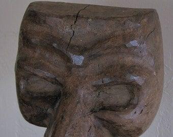Vintage Hand-Carved Sculpture/ Steampunk Decor/ Black Plague Mask Sculpture
