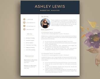 Professional Resume Template + Cover Letter. Instant Download. Modern Resume Template | Creative Resume Template | Resume With Photo