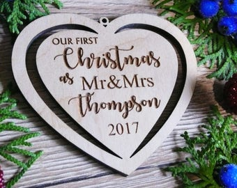 Custom Christmas Ornaments Wooden Ornaments Couple Ornament New Year Gift Wedding Ornament First Newlywed Christmas Gift Chrismas Gift