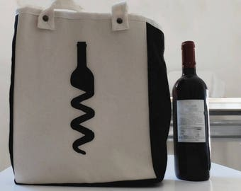 Canvas bottle bag with compartments