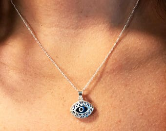 Evil Eye Necklace - Silver Evil Eye - Protection Necklace - Filigree Evil Eye Pendant - Eye-shaped Filigree Evil Eye Necklace