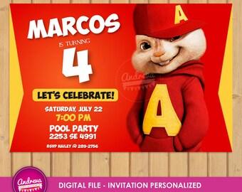 Alvin chipmunks Invitation, Alvin chipmunks Birthday, Alvin chipmunks Party, Alvin chipmunks, Alvin Printables, Alvin party printables