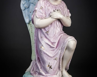 Beautiful French Antique Bisque Porcelain Kneeling and Praying Angel Archangel