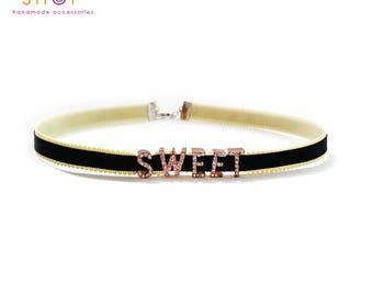Sweet choker,Grosgrain ribbon letter choker,Rhinestone letter choker necklace,Letter Choker,Choker necklace,Daily necklace,Letter necklace