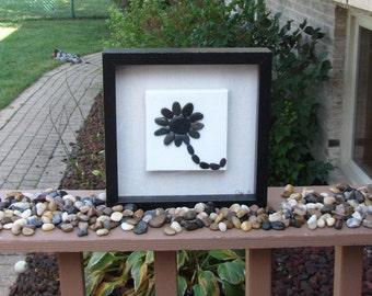 Pebble Art - pebble art flower, custom art, rock art, customized pebble art picture, stone art, wedding anniversary gift,pebble art family,