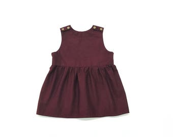 Baby Toddler Girl Burgundy Red, Navy Blue, Mustard Yellow, Purple, Green, and Floral Dress