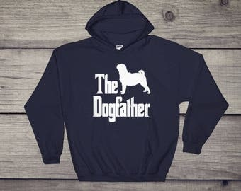 The Dogfather hooded sweatshirt, Pug silhouette, funny pug t-shirt, funny dog gift hoodie, The Godfather parody, dog lover sweater, dog gift