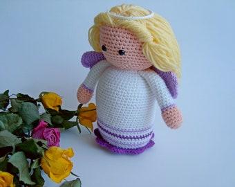 Crochet Angel toy, Angel girl, Angel amigurumi, Handmade Angel, Angel doll, Christmas Angel, Stuffed doy, Knitted Angel, Goddaughter Easter