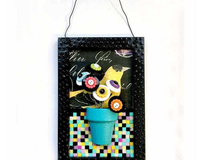 Flower Bird Mixed Media Mosaic Art, 3D Bird Flower Art Plaque, Goldfinch Art Mixed Media Wall Decor, Black Turquoise Aqua Bird Flower Art