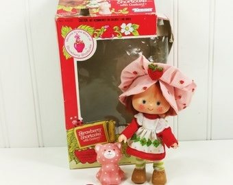 Strawberry Shortcake Doll with Pet Cat Custard, 1982 Kenner Doll with Original Box
