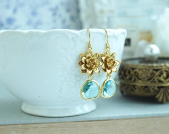 Lotus Flower Earrings Gold Water Lotus Flowers Blue Floral Earring Aquamarine Glass Dangle Earring Water Lily Earring Gifts for Mom Sis Xmas