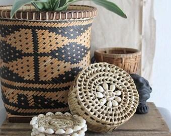 Vintage Boho Cowrie Shell Coasters