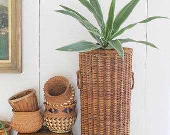 Tall Vintage Woven Basket Urn Style Planter