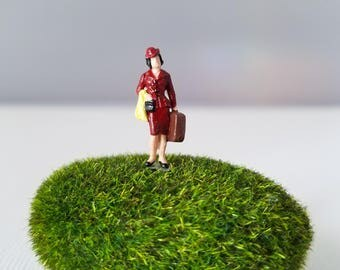 Miniature World Terrarium People Tiny Woman in Red Suitcase HO Scale Hand painted One of a Kind Railroad Figure
