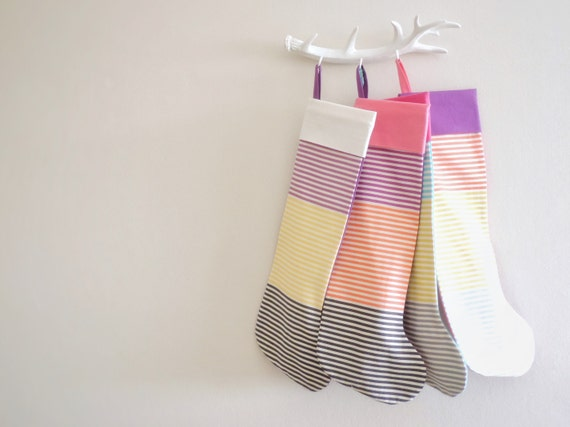 Striped Christmas Stocking, Modern Christmas Stocking, Fun Colorful Merry Bright Holiday Stockings, Kids Boys Girls Children, Little Cuff
