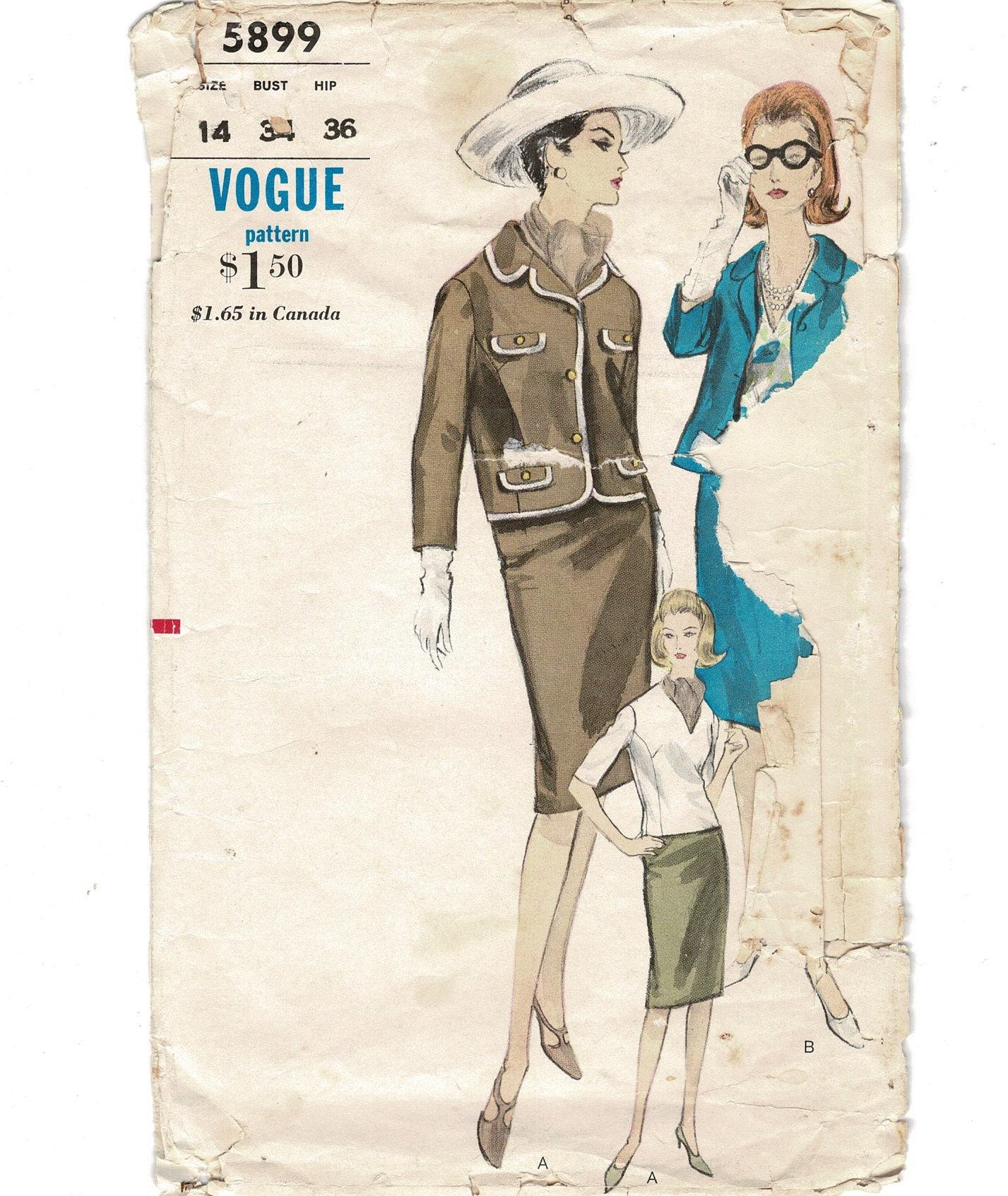 1950s Vogue 5899 Misses Rare Coco Chanel Style Suit Jacket
