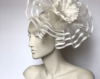 White Kentucky Derby Fascinator Derby White Easter Hat WhiteChurch Hat