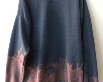 Tie dye Blue Sweatshirt, Acid WashSweatshirt,  Crewneck Sweatshirt, grunge ,dip dye, Hipster, XLarge, Rocker, retro, sweater, purple, pink