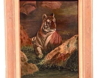 Tiger Oil Painting Animal Portrait Big Cat