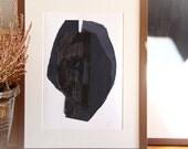 Man Face, Simple Modern Art Print, Original Paper Collage, Minimalist Abstract Print, Black Home Decor