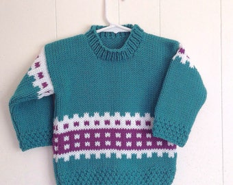 Toddler sweater - 12 to 24 months - Kids green Fair Isle sweater - Toddler clothing - Childs teal sweater