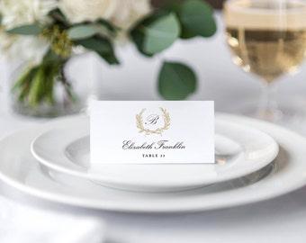Gold Wedding Place Cards Printable, Wedding Place Cards Template, Rustic Wedding Place Cards, Calligraphy, Folded or Flat, Editable