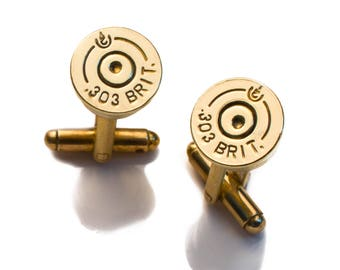 303 Brit Bullet Cufflinks. Upcycled cufflinks made from spent 303 Brass. Handmade in the UK