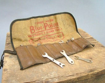 Vintage Blue Point Tools, Vintage Snap-On Tools, LS Starrett Gauge Gage Measure, Ignition Wrench Set, Angled, Pouch, Mechanics Hand Tools