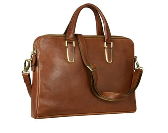 Leather laptop bag for women, Womens leather briefcase, Brown leather briefcase, Leather bag, Gift for her - Persuasion