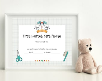 First Haircut Certificate, Photo Certificate, Haircut Certificate, Baby First Haircut, Kids gift, Christmas Gift, PRINTABLE art, 8x10 format