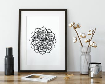 Mandala Wall Decor, Mandala Prints, Black and White Mandala Illustration, Mandala Wall Art, Mandala Print, Printable Mandala, Printables