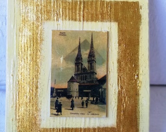 Painting on wood, HAND MADE, Vintage look, Decoupage, Nice gift, Old town Zagreb,Croatia, Cathedral, SL-001