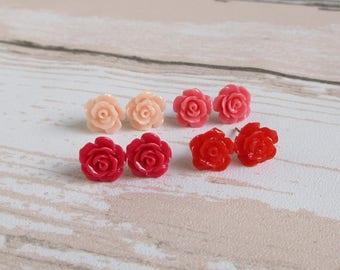 Rose Earrings, Pink Or Red, Bridesmaid Earrings, Dainty Rose Studs,  Flower Girl Jewelry, Stainless Steel or Plastic Posts