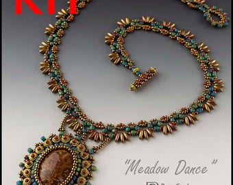 KIT- Brown and Green Meadow Dance Necklace beadweaving bead embroidery