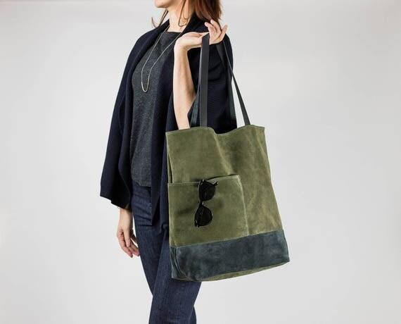 Large Leather Tote Bag, Oversized Tote Bag, Khaki Gray Suede Bag, Modern Everyday Bag, Travel Tote, Shoppers Bag, Laptop Bag, Green Tote Bag