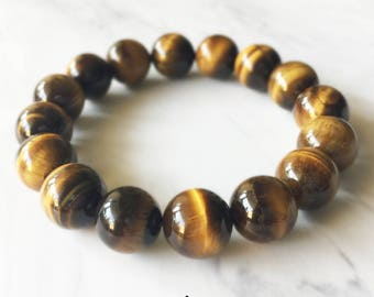 Tiger's Eye Bracelet, Tiger's Eye, Crystal Bracelet, Gemstone Beaded Bracelet, Tiger's Eye Jewelry, Chakra Jewelry, Beaded Bracelets, 12mm