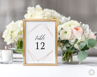 Wedding Table Numbers, Table Numbers, Rose Gold Table Number, Rose Gold Table Decor, Table Number Card, Boho Wedding, Instant Download, #GIS