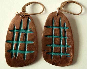 Copper Metal Clay Earrings on Lever Backs with Turquoise Enamel   PMCE144