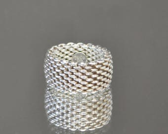 Tiffany and Co. Somerset Mesh Ring, Silver 925 Wide Band size 6