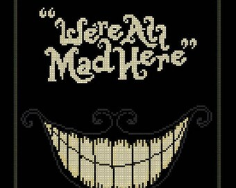 We re All Mad Here Alice cross stitch Cheshire Cat Cross Stitch Pattern - 138 x 163 stitches - Instant Download - B1093