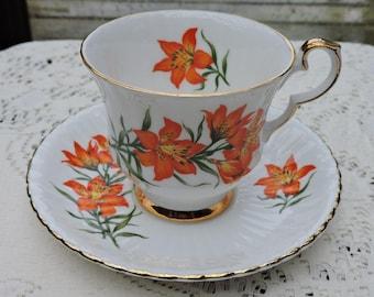 Royal Windsor PRAIRIE LILY Cup & Saucer Set Bone China - Emblem of Saskatchewan