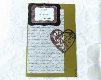 Key To My Heart Handmade Greeting Card//Love Card//Gift For Her//Handmade//I Love You//Anniversary//Wedding//Birthday//Just Because