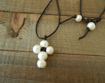 Leather and pearl cross necklace, boho style, pearl on leather, beach boho, festival chic, leather and pearl necklace, black leather cord