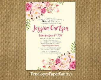 Elegant Rustic Bridal Shower Invitation,Ivory,Blush,Pink,Roses,Shabby Chic,Personalize,Custom,Printed Invitation,Ivory Envelopes