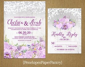 Romantic Rustic Gray Summer Wedding Invitation,Lavender,Purple,Violet,Roses,Peonies,Fairy Lights,Barn Wood,Printed Invitation,Wedding Set