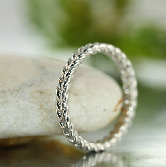 Love Rope 14K White Gold Braided Wedding Band Unique Twisted